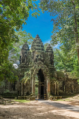 North gate of Angkor Thom complex near Siem Reap Cambodia South East Asia