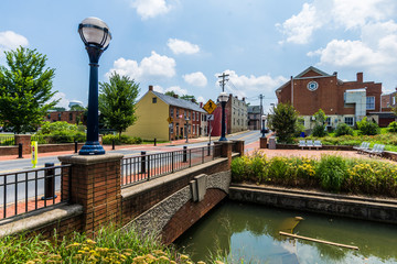 Sights around Carrol Creek Promenade in Historic Frederick, Maryland Wall mural