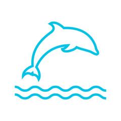 dolphin and sea icon