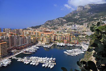 View of Fontvieille harbor with boats and yachts pictured in principality of Monaco, southern France.