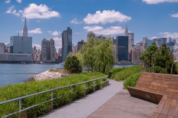 Hunter's Point South Park with view of Manhattan skyline and East River