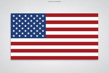 American flag on white background. Vector.