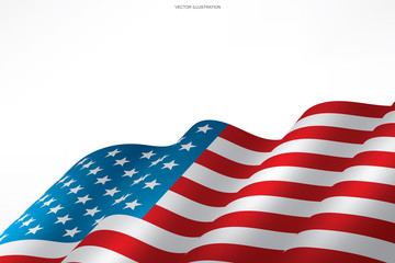 Abstract American flag on white background with area for copy space, graphic design and text. Vector.