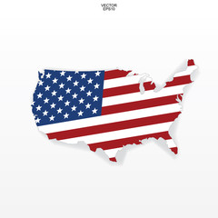 "Map of the USA with american flag pattern. Outline of ""United States of America"" map on white background with soft shadow. Vector."