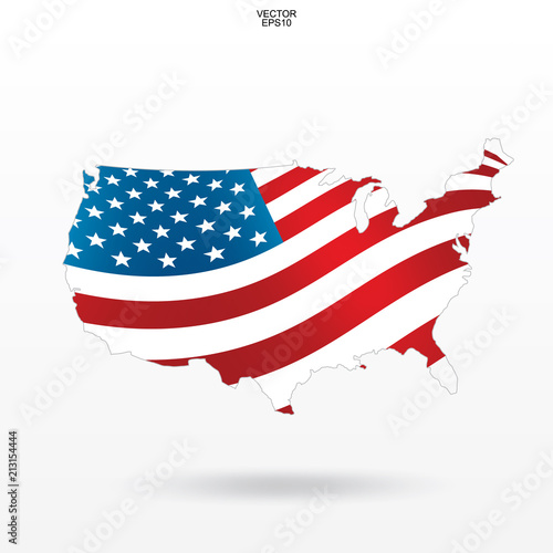 American Map Vector.Map Of The Usa With American Flag Pattern And Waving Outline Of