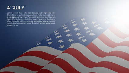4th of July background for USA(United States of America) Independence Day with USA flag and soft light effect. Vector.