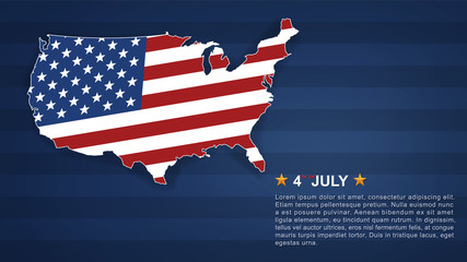 4th of July background for USA(United States of America) Independence Day with USA map and american flag pattern. Vector.