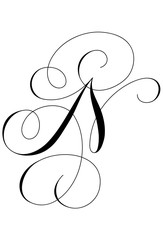 Calligraphy Alphabet Letter N