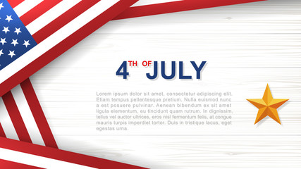 4th of July - Background for USA(United States of America) Independence Day with white wood pattern and texture and American flag. Background with area for copy space and text. Vector.