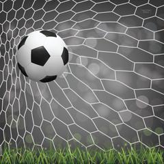 Soccer football ball in soccer goal with light blurred bokeh background. Vector.