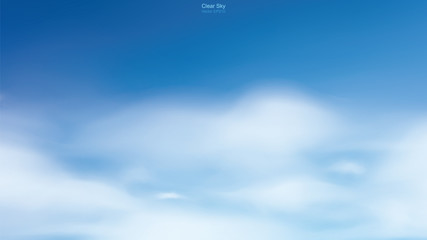 Blue sky background with white clouds. Abstract sky for natural background. Vector.