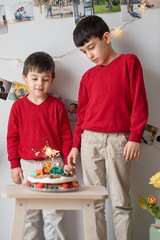 Brothers standing next to a birthday cake