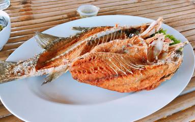 Thai style Deep Fried Sea Bass.