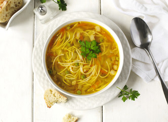 Soup with pasta and vegetables
