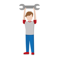 child boy with wrench equipment in the hands