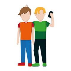 children boys friends with social smartphone