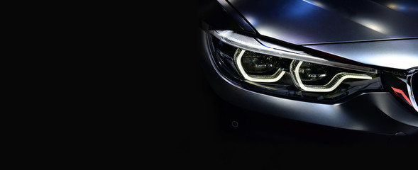 Detail on one of the LED headlights modern car.