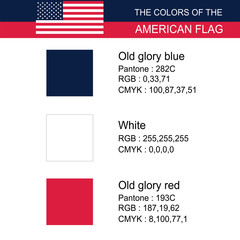 American flag color code or color of the American flag detail American  Flag Proportion vector on white background illustration
