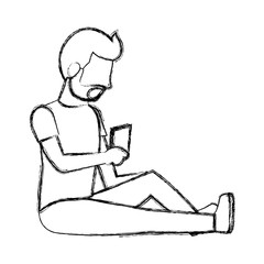 grunge man sitting with smartphone social communication