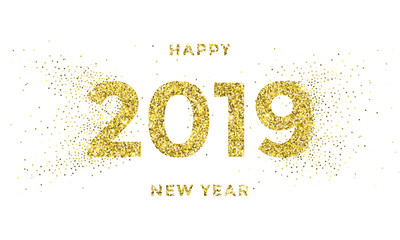 2019 Happy New Year greeting card of vector golden stars glitter confetti for Christmas holiday celebration on white sparkling background