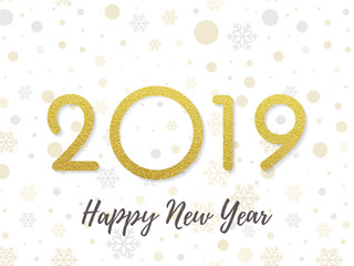 2019 Happy New Year greeting card of golden glitter and sparkling light. Vector calligraphy lettering for Christmas holiday celebration on white shiny snowflakes pattern background