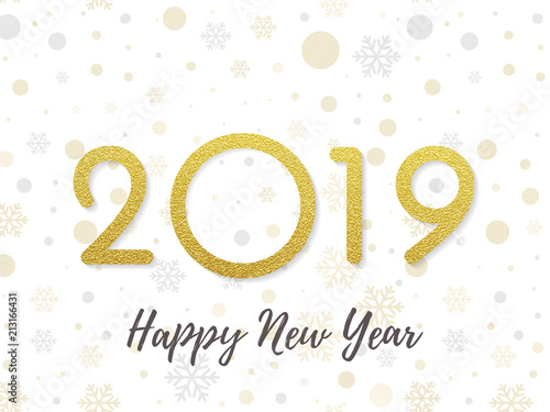 2019 Happy New Year greeting card of golden glitter and sparkling ...