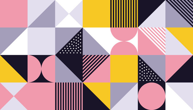 Geometric pattern background of vector Scandinavian abstract color or Swiss geometry prints design with rectangles, squares and circles