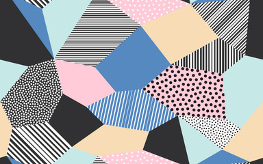 Abstract patchwork pattern background of vector patch artwork of giclee dots, lines and strokes shapes Fototapete