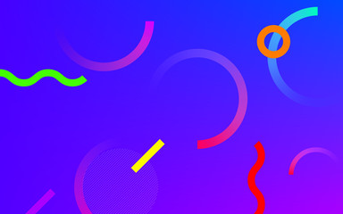Abstract neon color gradient pattern with Memphis geometric dot and line elements on blue purple background