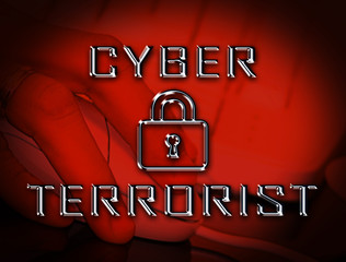 Cyber Terrorist Extremism Hacking Alert 2d Illustration