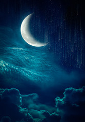Wall Mural - Landscape of sky with crescent, many stars and meteor shower.