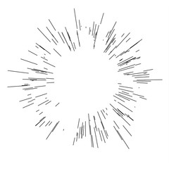 Speed lines. Radiating from the center of thin beams, lines. Vector illustration. Icon black on white.