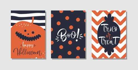 Happy Halloween greeting card, banner, poster templates. Traditional symbols and handwritten text.