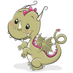 Cute Cartoon Dragon on a white background