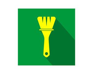 yellow brush construction repair fix engineering tool equipment image vector icon logo
