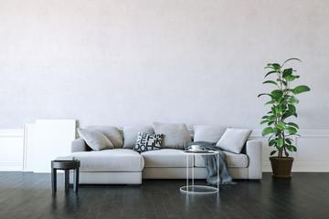 3d render of beautiful clean interior design