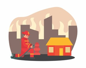 cute funny fireman firefighter fireguard fire brigade fire company extinguisher profession cartoon character
