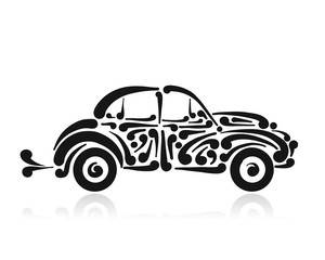 Retro car, abstract painted silhouette for your design