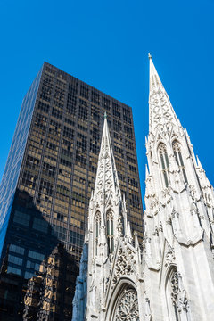 Low angle view of St Patrick Cathedral of New York City