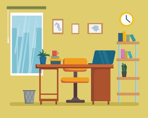 The workplace interior cartoon design with furniture, bookshelf. Freelancer, designer office workstation. Business concept flat style cartoon vector illustration