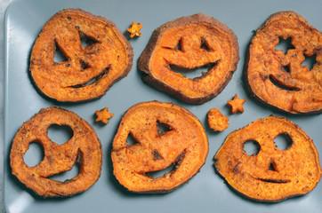 Roasted Sweet Potato Carving Funny Faces, Halloween Symbol, Creative Food
