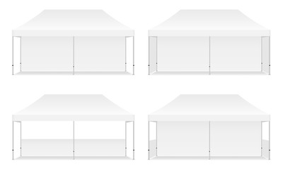 Set of four outdoor promotional rectangular tents, isolated on white background. Vector illustration
