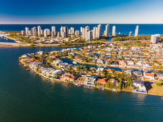 Aerial view of Surfers Paradise and Southport on the Gold Coast,