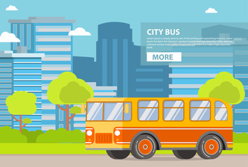 Public city transport. Passenger bus. City of a tower of a skyscraper buildings.Flat vector.Urban background