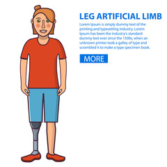 Girl with a leg artificial limb.Young Person sport prostheses. Cartoon character flat line art vector. Isolated on white.Woman who has overcome disability.