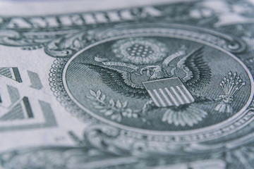 US Dollar bill, super macro, close up photo. Details of bills.