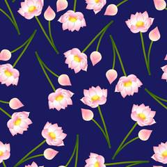 Pink Indian lotus on Navy Blue Background