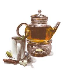 tea mug with mint leaves on a saucer with a teaspoon and a glass teapot