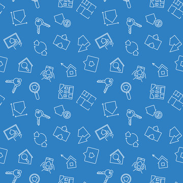 Blue Real Estate vector seamless pattern