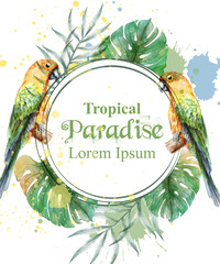 Tropical paradise frame with parrots and palm leaves watercolor Vector illustration